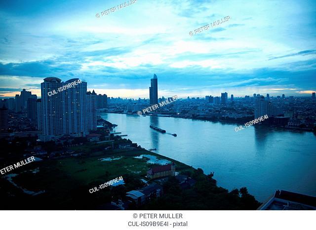 Dawn cityscape with Chao Phraya river, Bangkok, Thailand