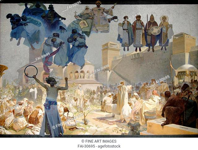 The Introduction of the Slavonic Liturgy (The cycle The Slav Epic) by Mucha, Alfons Marie (1860-1939)/Tempera and Oil on canvas/Art Nouveau/1912/Czechia/City...