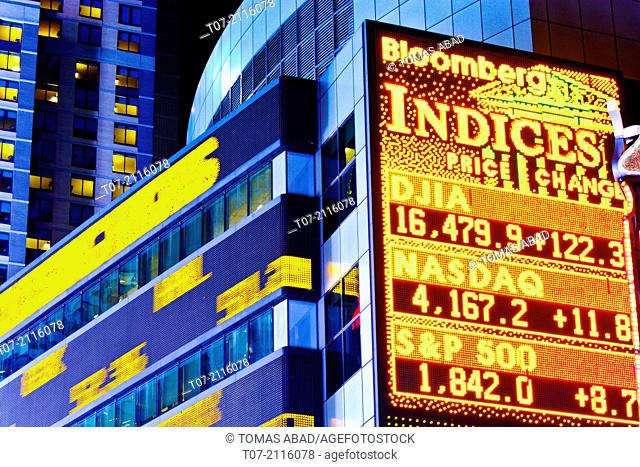 Time Square, Broadway, Morgan Stanley headquarters building, stock market data ticker tape, Manhattan, New York City, USA
