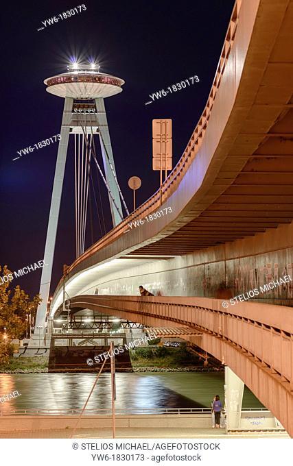 Novy Most New Bridge designed by A  Tesár, J  Lacko and I  Slamen, Bratislava, Slovakia, Europe