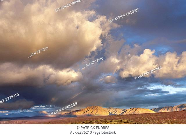 Stormy, localized rain clouds hover over the Alaska range mountains and autumn colored tundra near Savage river in Denali National Park, Interior Alaska