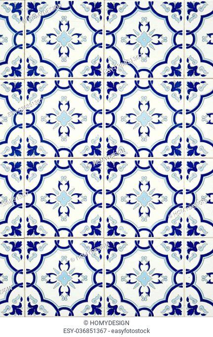 Closeup detail of old Portuguese glazed tiles