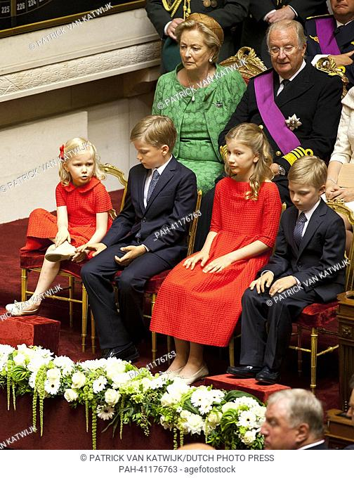 Princess Elisabeth, Prince Gabriel, Prince Emmanuel, Princess Eleonore, King Albert and Queen Paola attend the swearing ceremony of King Philippe of Belgium...