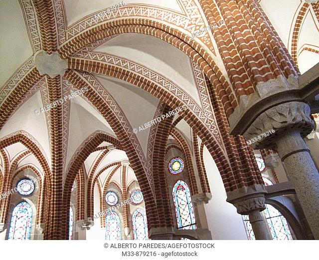 Detail of vaults, Episcopal Palace (19th century) by architect Gaudi, Astorga. Leon province, Castilla-Leon, Spain
