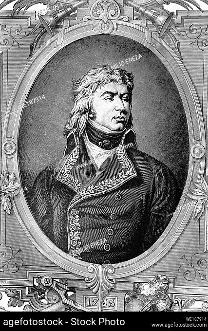 Jean Louis Ebenezer de Reynier. French general of revolutionary wars. 1771-1814. Antique illustration. 1890