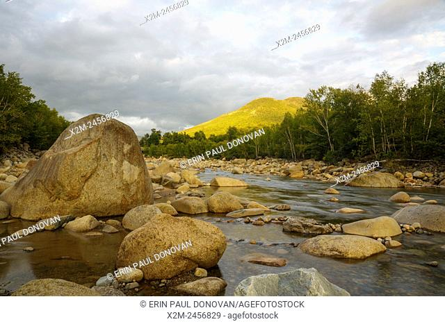 East Branch of the Pemigewasset River in Lincoln, New Hampshire USA near the Loon Mountain entrance during the summer months