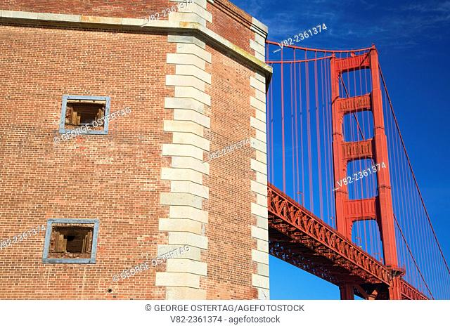 Golden Gate Bridge from Fort Point, Fort Point National Historic Site, Golden Gate National Recreation Area, San Francisco, California