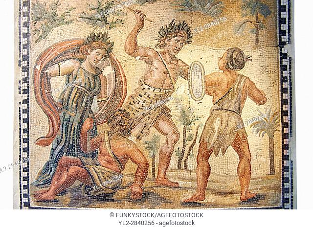 Roman floor mosaic depicting the struggle between Dionysus and the Indians. From the Villa de Ruffinella, Tusculum. 4th century AD