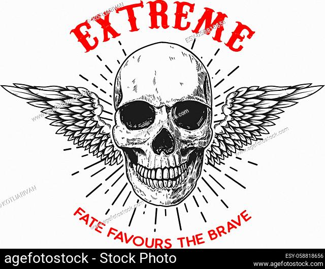 Extreme. Poster template with winged human skull. Design element for poster, logo, label, sign, badge. Vector illustration