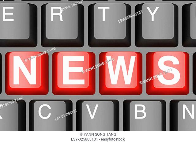 News button on modern computer keyboard image with hi-res rendered artwork that could be used for any graphic design