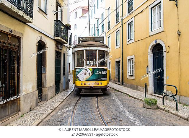 Tram in Alfama District, Lisbon, Portugal, Europe