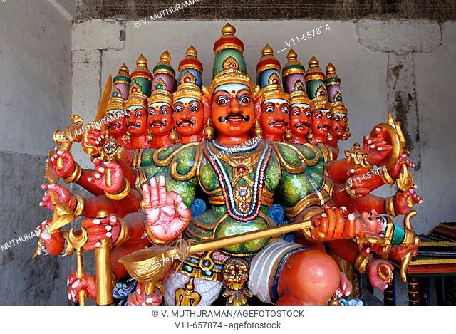 Ravana, ten headed King of Lanka, who abducted Sita (the Ramayana epic); brother of Vibhishana & Surpanakha; father of Indrajit; husband of Mandodari