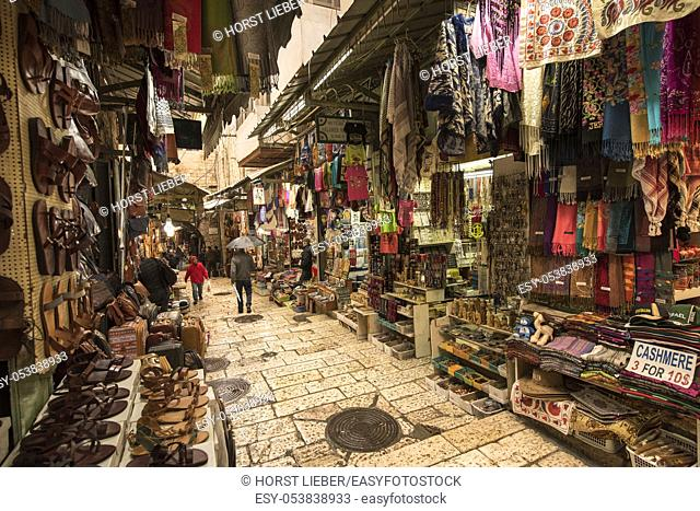 The Arabic suq in the historic old city of Jerusalem, Israel. , Middle East