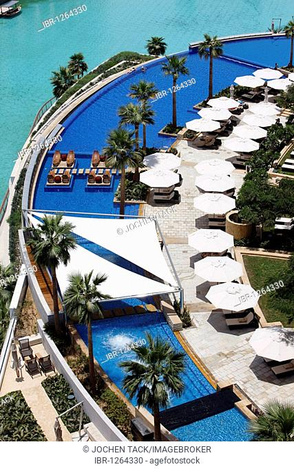 Pool area of the luxury hotel The Address, part of Downtown Dubai, United Arab Emirates, Middle East