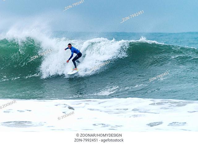 PENICHE, PORTUGAL - OCTOBER 30, 2015: Brett Simpson (USA) during the Moche Rip Curl Pro Portugal, Men's Samsung Galaxy Championship Tour #10