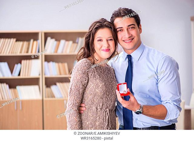 Romantic concept with man making marriage proposal
