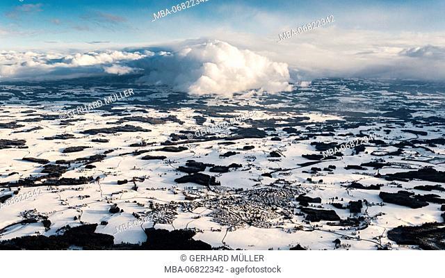 Aerial photo of Vogt in Upper Swabia in winter