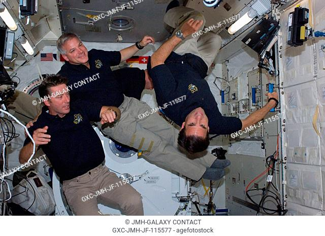- Three members of the STS-134 crew assigned to space shuttle Endeavour's final mission are pictured in the Japan Aerospace Exploration Agency's Kibo lab on the...