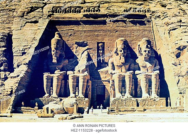 Sandstone statues of Rameses II outside the entrance to the main temple at Abu Simbel, Egypt, 13th Century BC. The temple was built during the reign of Rameses...