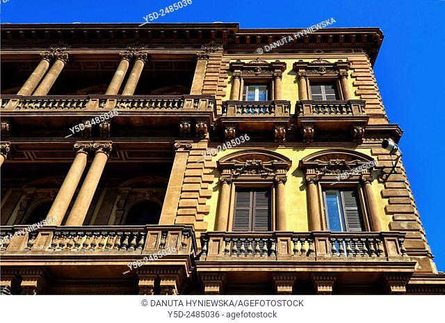 Europe, Italy, Sicily, Catania, facade of Palazzo Pancari Ferreri designed by Carlo Sada, Via Etnea 306