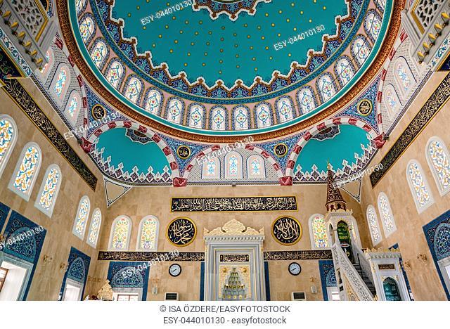 Interior view of Center Isabey Mosque in Bursa, Turkey. 20 May 2018
