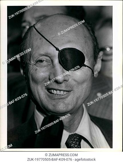May 05, 1977 - Moshe Dayan Press Conference at the UN at Plaza Hotel. (Credit Image: © Keystone Press Agency/Keystone USA via ZUMAPRESS.com)
