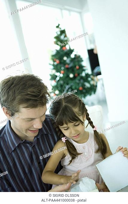 Girl sitting on father's lap, opening Christmas present