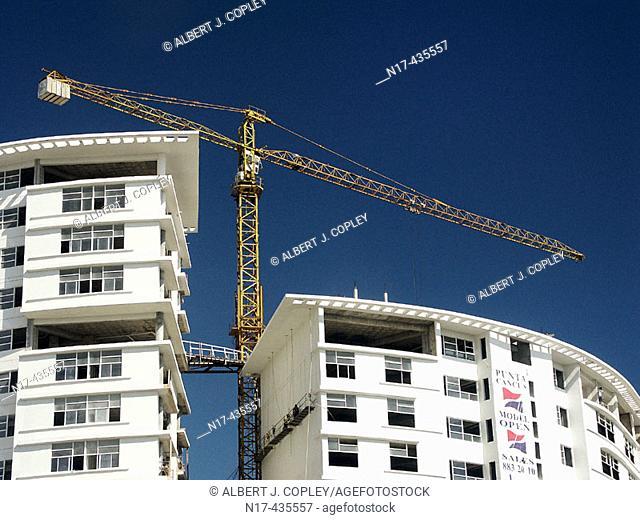 Construction cranes anf new buildings in Cancun. Yucatán, Mexico
