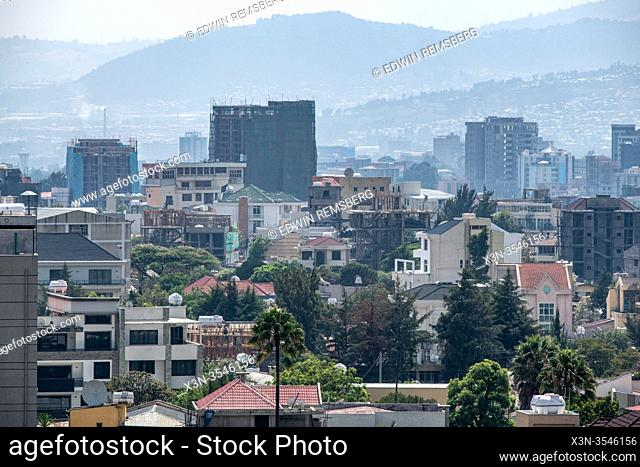 An overhead view of the city , Addis Ababa, Ethiopia
