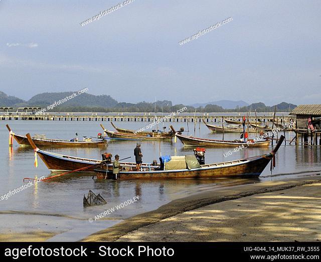 Longtail boats anchored Ko Muk island Thailand