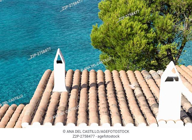 Coast in Majorca island Balearic islands on August 2016 in Spain. Canyamel beach