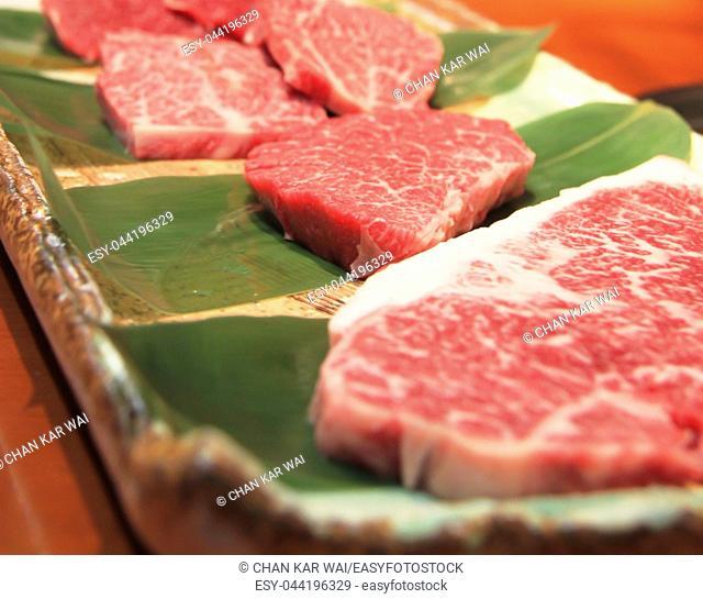 High marbling on Hida beef steaks