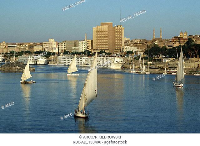 Sailing boats on river Nile Aswan Egypt felucca feluccas