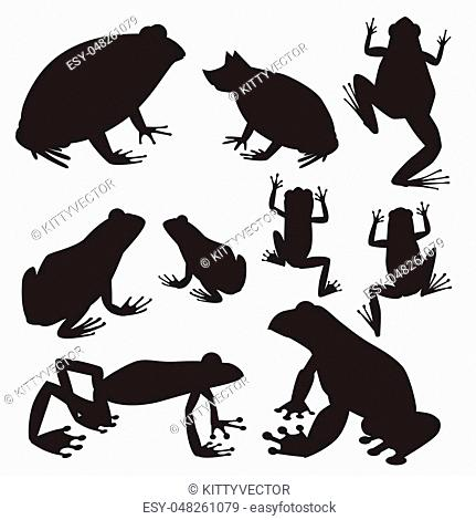 Frog vector silhouette cartoon tropical wildlife animal green froggy nature funny illustration toxic toad amphibian. Wild funny forest nature hop character