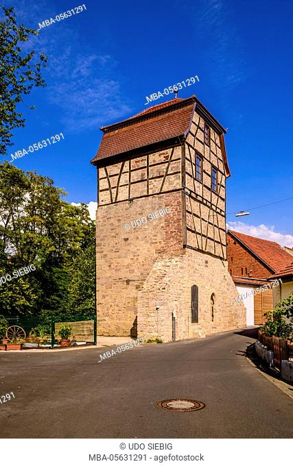 Germany, Bavaria, Lower Franconia, 'Fränkisches Saaletal' (Saale valley), Hammelburg, 'Hüterturm'