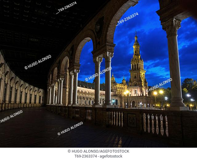 Night view of Spain square. Seville. Spain