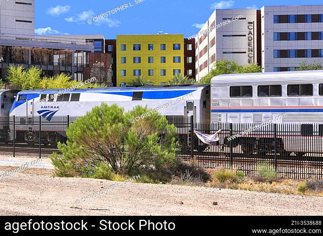 Amtrak train service at Tucson station AZ on its way to El Paso, San Antonio or Houston and on to New Orleans