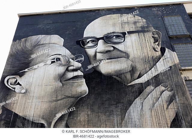 Loving couple of seniors, Mural by British street artist Ben Slow, The Crystal Ship Festival 2018, Ostend, West Flanders, Belgium
