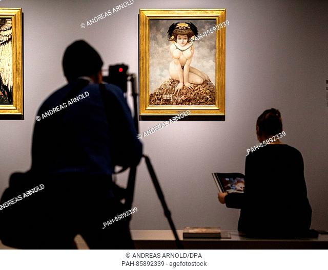 "A photographer takes a picture of the painting """"Sie She"""" (1905 , Gustav Adolf Mossa) at the Staedel Museum in Frankfurt am Main, Germany, 23 November 2016"