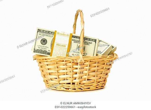 Basket full of dollars isolated on white