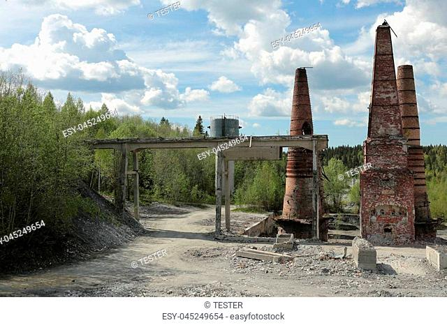Old abandoned marble factory in Ruskeala, Karelia republic, Russia