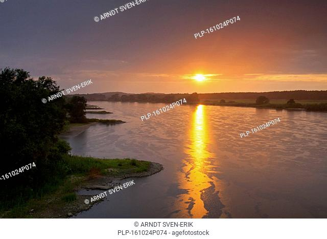UNESCO Elbe River Landscape biosphere reserve at sunset in summer, Lower Saxony, Germany