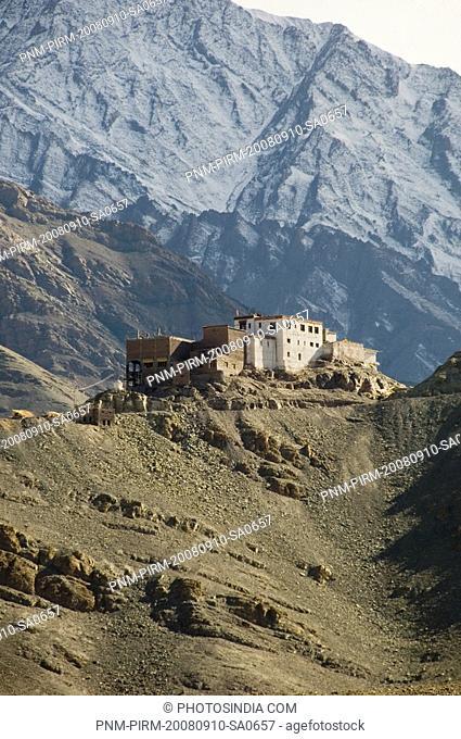 Monastery on a hill, Matho Monastery, Ladakh, Jammu and Kashmir, India