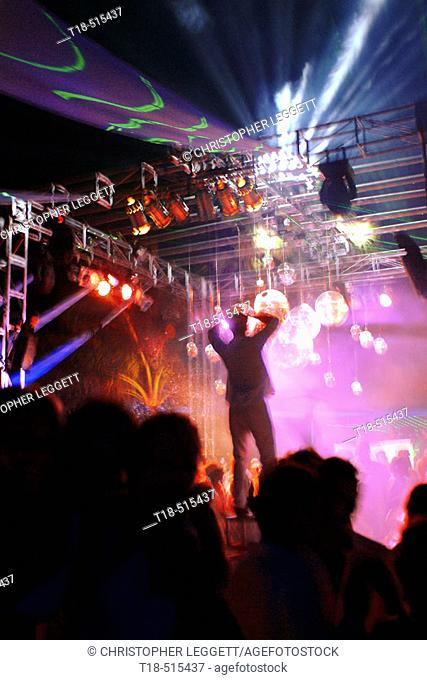 Party atmosphere, neon lights. Seminyak, Bali, Indonesia