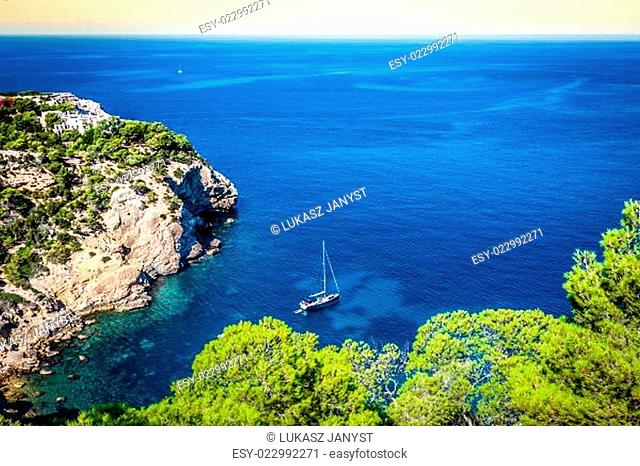 Cala Tarida in Ibiza beach San Jose at Balearic Islands