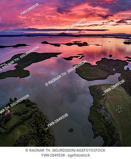 Aerial view of Lake Myvatn at Sunset, Northern Iceland. Drone view