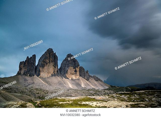 Tre Cime di Lavaredo at sunset, Tre Cime Nature Park, Sexten Dolomites, South Tyrol, Italy