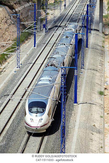 Spain, Catalonia, Lleida province, High Speed train, AVE Series 103 taken near Vinaixa viaduct