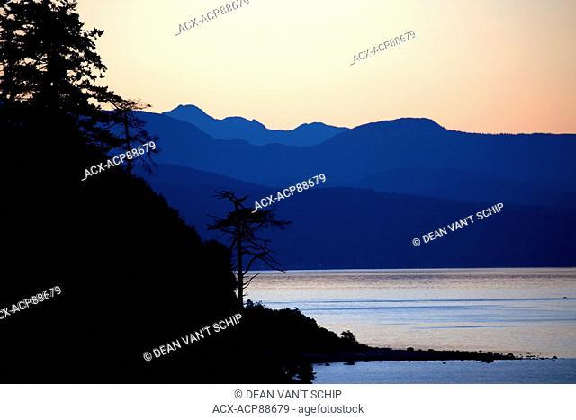 Dawn, Sunrise, Coastal Forests, Douglas Fir Trees (Pseudotsuga menziesii ), Sillhouette, Beach, Tidal waters, Coast Mountains, Savary Island, Strait of Georgia