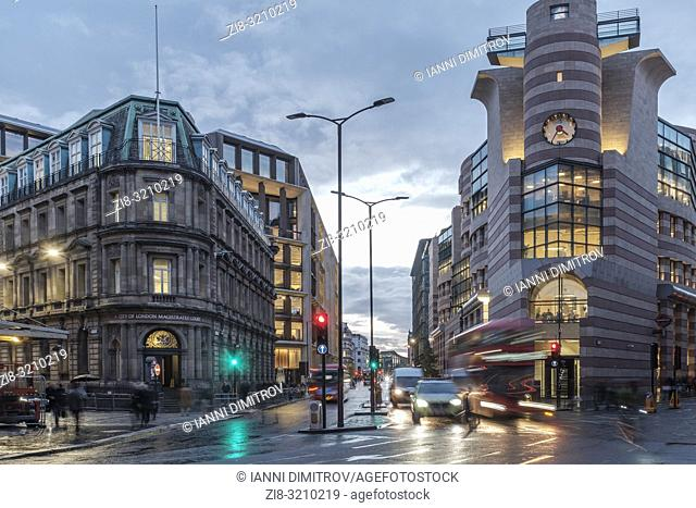 England,London- traffic on Bank Station Junction, City of London Magistrate Court to the left, Queen Victoria Street and Poultry to the right